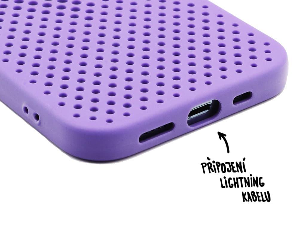 Gumový obal s dírkami na iPhone 12 (Pro) – Fialový – 7